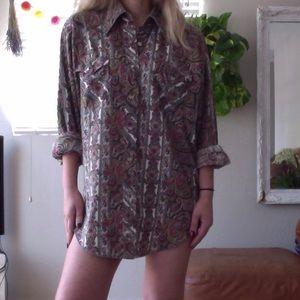 vintage paisley wrangler dress / shirt